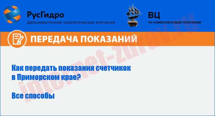 Приморский край - как передать показания счетчика (ДЭК, ТРИЦ)