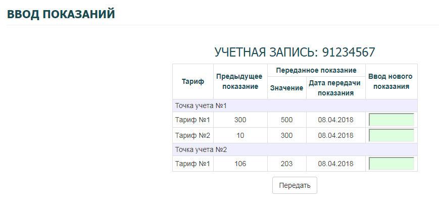 Ульяновскэнерго - личный кабинет (ввод показаний)