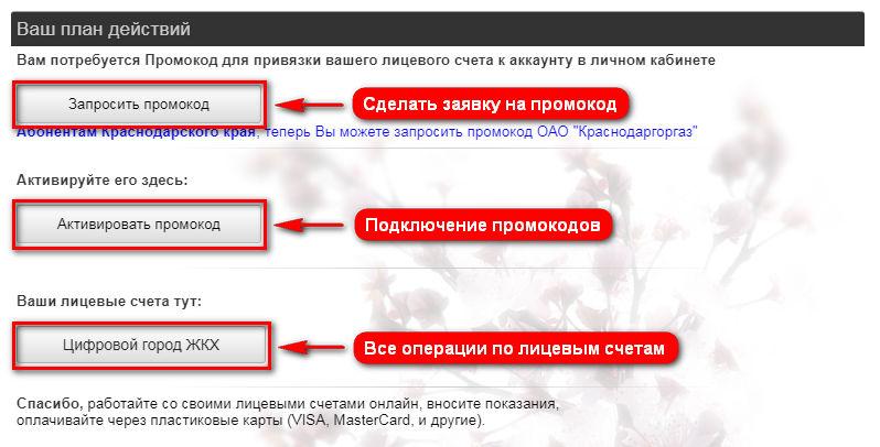 Цифровой город Краснодар - личный кабинет (главная страница)