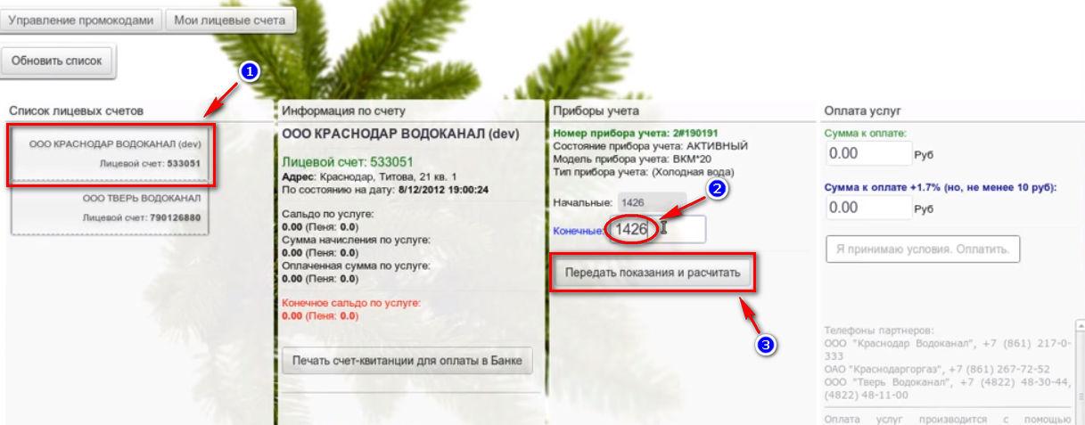 Цифровой город Краснодар - личный кабинет (передача показаний счетчика)