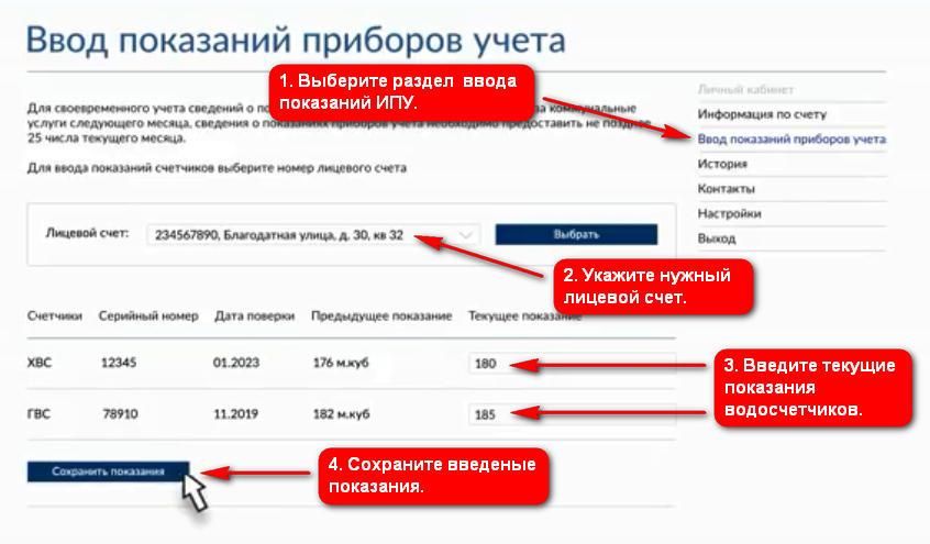 ВЦКП СПб - передача показаний в личном кабинете